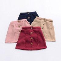 2-6 Years Skirt Girl Mini Pink Maroon Khaki Girls Skirts School Wear With Button M90249