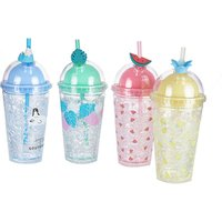 Double Wall Cold Ice Tea Coffee Bubble Mug Lid and straw,insulated freezable acrylic tumbler,Summer crackle gel Cup