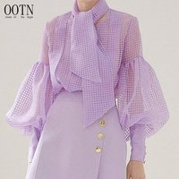 OOTN Ladies Chemise See Through Elegant Top, Women O Neck Sashes Tunic Shirt, Puff Long Sleeve Purple Perspective Plaid Blouse