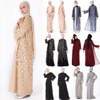 2019 Abaya Islamic Clothing Floral Sequins Open Front Kimono Long Sleeve Cardigan for Evening Prom Kaftan Abaya Muslim Dresses