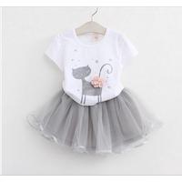 Girls Clothes White Cartoon Short Sleeve T-Shirt+Veil Dress 2Pcs Children Clothes Wholesales