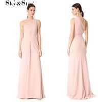 2019New design bodycon women one shoulder pink long elegant evening dress