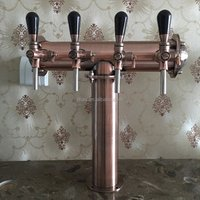 GHO Retro Copper Beer Tower 4ways Draft Beer Column Table-top Beer Tower