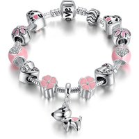 'Pandora Element Lucky Dog Charm Bracelet Qings 925 Sterling Silver Plated Bracelets With White Zircon