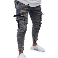 Factory direct stretch mens jeans trend knee hole zipper feet trousers wholesale