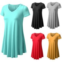 hot selling Plus Size Summer Women Short ladies Sleeves Flare Women Tunic Tops