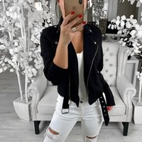 Ladies Womens Turn-Down Collar Jacket Flight Coat Zip Up Casual Solid Tops Clothes Lapel Zipper Slim Short Jacket