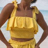 Top Sale Womens Sexy Bows T-shirt Womens Sling Solid Color Blouses Tube Crop Tops Shirts