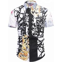 A4083 Graffiti color difference splash ink pattern Chemise Homme White dress shirt