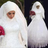 Customize Pure White Arab Long Sleeve Saudi Arabian Wedding Gown High Neck Muslim Bridal Wedding Dress