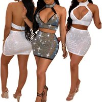 Latest designer reflective crop top and bodycon mini skirt two piece set women clothing ladies club wear sexy skirt suits