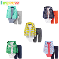 3pcs baby bodysuit clothing sets with cardigan 100%cotton baby clothes sets