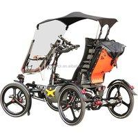 Elderly Traveling Aluminum Alloy 500W Mid Drive Motor 4 Wheel Electric Vehicle Velo Taxi Recumbent Quadricycle Bike