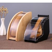 Wooden Bamboo Coffee Filter Paper Holder with Acrylic Lid filter paper storage Rack Beech Acacia Wood Coffee filter holder