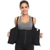 Waist Trainer Corset for Weight Loss Women Sauna Sweat Vest Workout Tank Top Body Shaper with Zipper