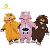 Cheap Zip Cute Newborn Infant Baby Boy Rompers Winter Clothes Crawling Clothing Newborn Baby Girl Boy Animal Romper