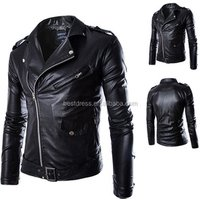 Ecoparty Size M-4XL Fashion Mens clothing Slim Fit Casual Suit Coats Blazers Mens Leather Biker Jacket Hot Sale Styles