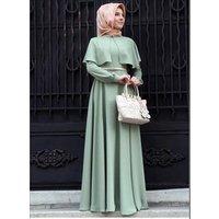 Womens Muslim Dress Long Sleeve Cloak Kaftan Dresses Robe Islamic Clothing Abaya Y10434
