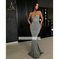 Gray Performance Wear Wholesale Gorgeous Full Figure Formal Prom Gown Long 2019 Lady Woman Glitter Evening Dress