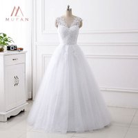 A Line Wedding Dress Sleeveless 2019 Bridal Sequin Appliques Wedding Gowns vestidos de novia