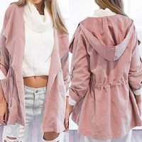 Custom Fashion Blank Pink Womens Coat Fashion woman hooded nylon windbreaker Long Ladies Wind breaker Jacket Womens