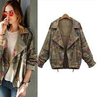 Women Short Outwear Jackets Bat sleeve Vintage Army Green Camo Denim Jacket Coat Rose Print Camouflage women Jeans Coat