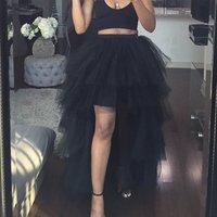 Women Multi Layer Tulle Skirt Girls Summer High Waist Skirts Pleated Retro Princess Long Maxi Tutu Skirt Ball Gown Y11084