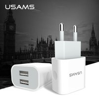 USAMS 5V 2.4A Mobile Charger Dual USB Ports Travel Charger EU Uk Plug Phone Charger for iPhone Samsung