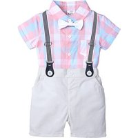 Infant Boys Outfits Summer Gentleman Newborn Boy Clothing Short Sleeve Shirt Romper Bib Shorts Baby Clothes Set for Boys