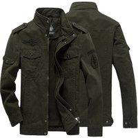 Men Jacket Jean Military Army Soldier Cotton Air Force One Male  Mens Jackets Plus Size  M-6XL Denim Jacket Mens Coat
