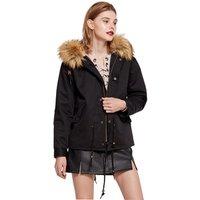 cz38082w China supplier parkar wholesale alibaba winter clothes 100%cotton Plus Size S-XXL Black Green Khaki womens fur coat