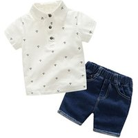 Boys Summer Casual POLO Shirt Short Sleeve T-Shirt Jeans Shorts Fashion Two-Piece Kids Clothing Set