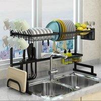 2 Tiers Kitchen Dish Drying Rack Dish Drainer Storage Rack
