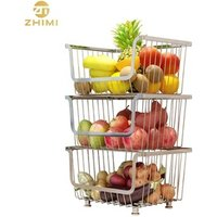 High Quality Stainless Steel  Multi-layer Kitchen Vegetable or Fruit Storage Rack Storage Basket