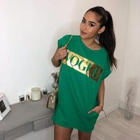2019 Loose Causal Mini Letter Summer Round Neck t shirt Short Sleeve Vogue Printing Pocket Sexy Dress Suit dress