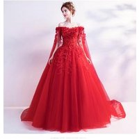 One-shoulder rose red wedding toasts the bride wedding banquet wedding dress evening dress wholesale