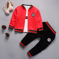 2018 New Children Girls Boys Fashion Clothing Sets Autumn Winter 3 Pieces Suit Jacket Clothes Baby Cotton Brand Tracksuits