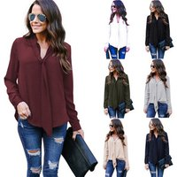Free Shipping 2019 NEW Women Blouse Long Sleeve Sexy V Neck Chiffon Shirts Casual Loose Work Office Ladies Tie Tops Plus Size