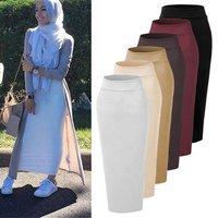 Fashion Islamic Skirt Elegant Modest Bottoms Long Pencil Skirt For Women Ankle-Length Thicken Knitted Cotton Muslim Skirt