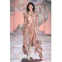 women print maxi run way  irregular hem evening dress long puff sleeve women dress wholesale A2993