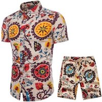Suit Collection - Large Size Short Sleeve Shirt Mens Summer New Shirt Set