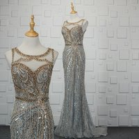 celebrity women mermaid sequins rhinestone crystal  long evening dresses Neck Major Beading Prom Gowns wedding Formal Wear