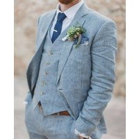 The latest design linen mens beach summer wedding dress mens groom dance slim fit suit 3 pieces (jacket + pants + vest)