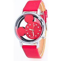 3956 High Quality Stylish Cute Girls Micky Mouse Face Leather Band Quartz Wrist Watch for Children