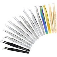 Straight and Curved Tweezers for Nail Art False Eyelash Extension tweezers Stainless Steel tweezer Make Up Tools