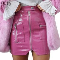 OOTN Wear Short Button Front Zipper Female 2019 Fashion Sexy Party Skirt Women Summer Pink Mini Skirts PU Leather Pencil Skirts