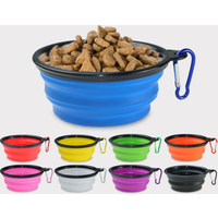 'Collapsible Silicone Pet Bowl Travel Bowl Food Grade Silicone Bpa Free Foldable Expandable Cup Dish For Pet Raised Dog/cat Food