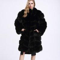 2018  winter clothing long faux luxury chinchilla fox warm coats women warm soft faux fur coat