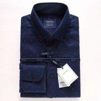 In-Stock Hot Stylish Slim Fit Navy 100% Cotton Men Dress Shirt