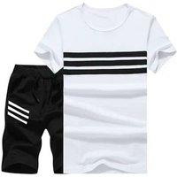 New Summer Men Set 2PC Sporting Suit Short Sleeve T shirt+Shorts Two Piece Set Sweatsuit+Pants